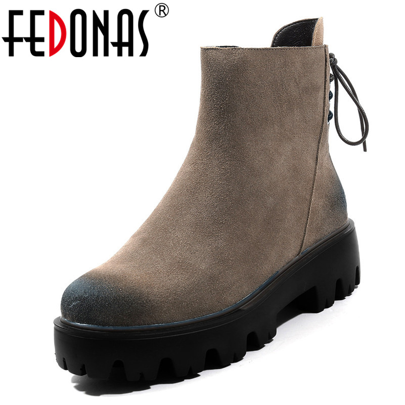 FEDONAS New Women Ankle Boots Thick High Heels Platforms Autumn Winter Round Toe Martin Shoes Woman Ladies Warm Casual Shoes