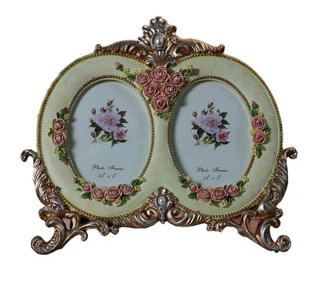 Matrimonio marcos de cuadros rosa rojo solo Oval Flower Photo Frames ...