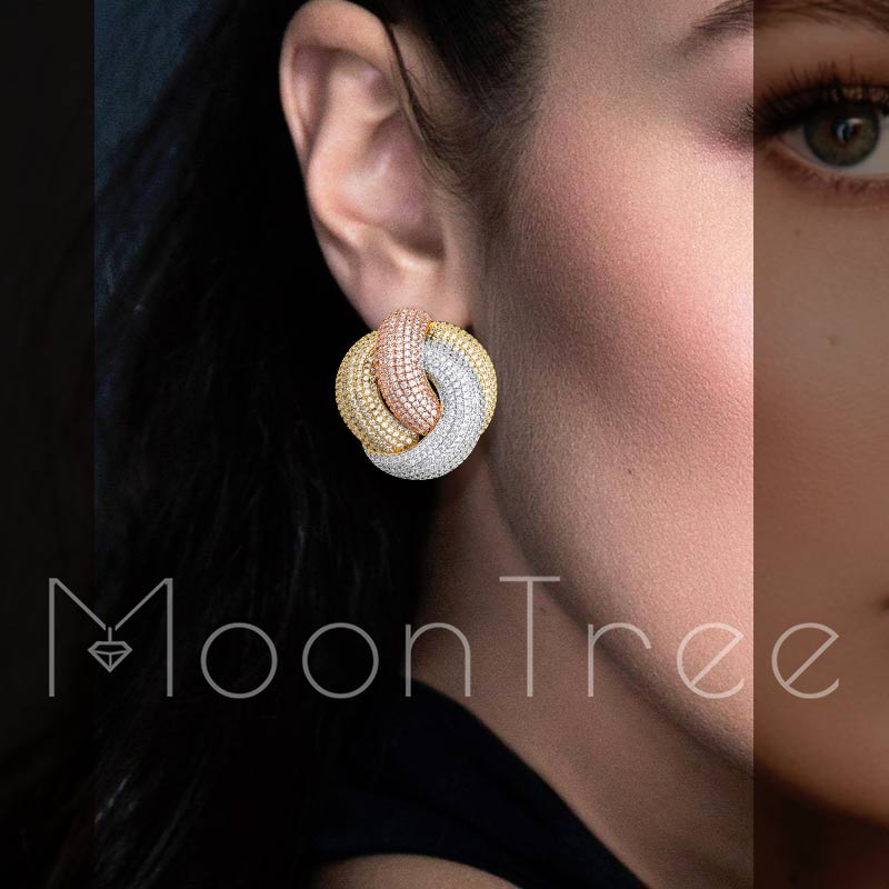 MoonTree Luxury Twist Braided Lines Full Micro Paved Cubic Zircon Setting European Wedding Earring Fashion Jewelry