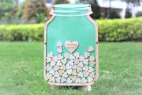 Personalized Customs Mason Jar Wooden Frame Wedding Guest Book Baby Shower Wood Dropbox