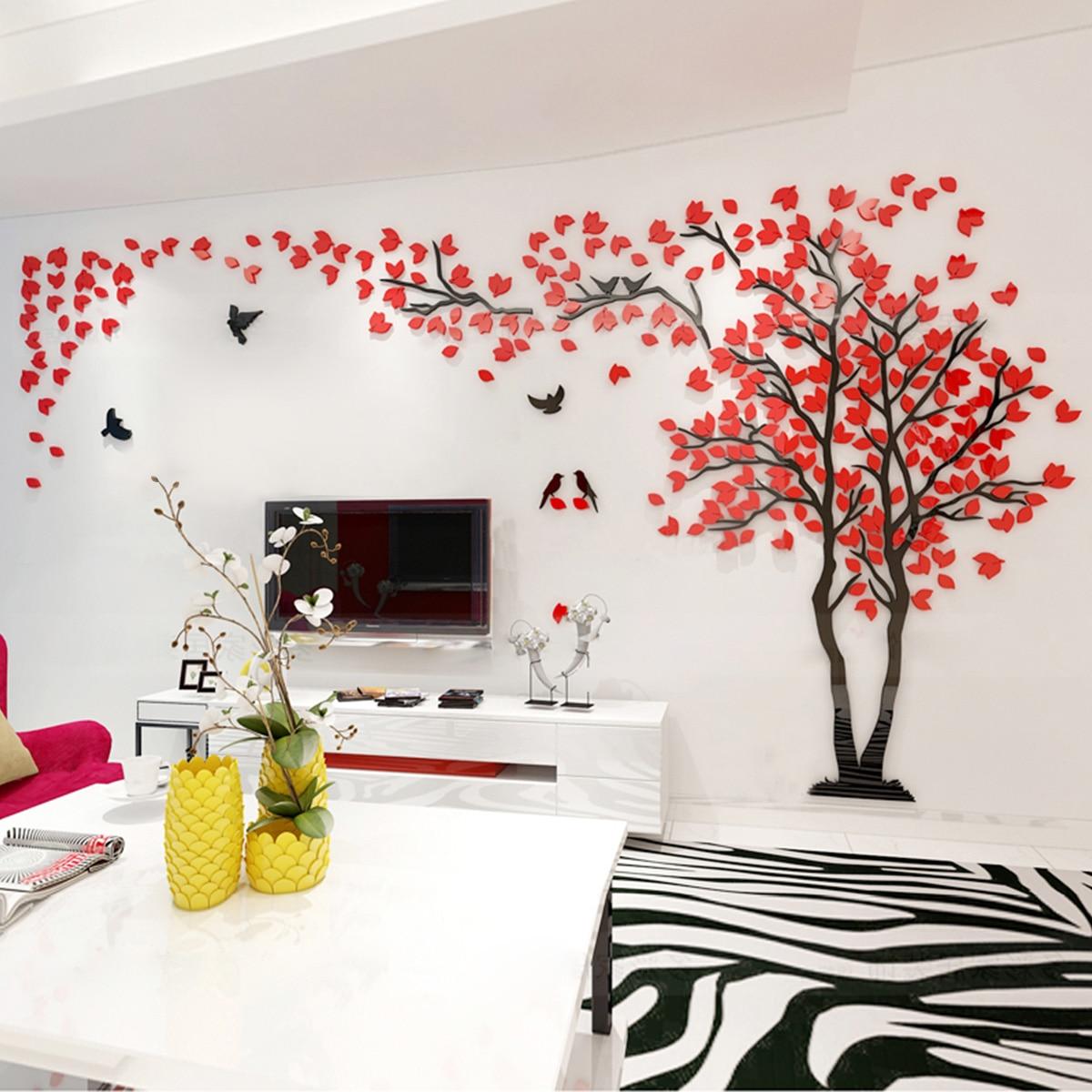 Arbre de couplage Sticker Mural amovible décoration murale stickers muraux pour enfants chambre salon chambre-taille M gauche (rouge)