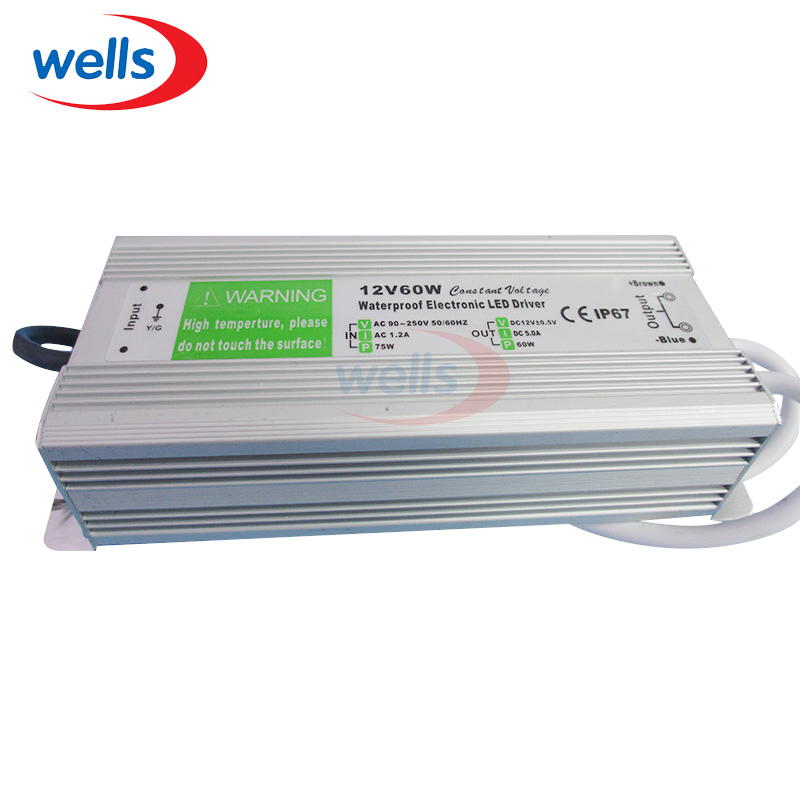 AC DC 12V 5A 60W Waterproof r IP67 Power Supply 220V to 12V Electronic Transformer Led Driver Adapter for Led Strip Converter ...