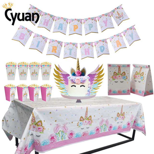 US $0 78 21% OFF Cyuan Unicorn Party Decor Birthday Latex Balloons Unicorn  Theme Paper Hat Napkins Plate Table Cloth Kids Happy Birthday Gifts-in