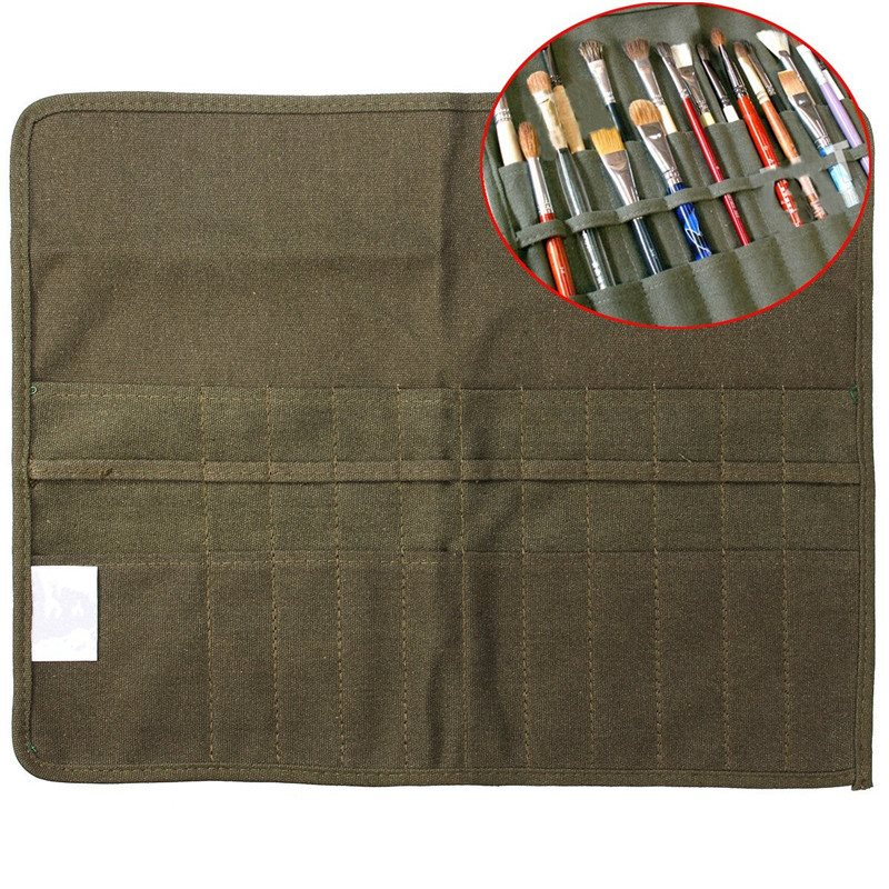 Modern Roll Up Canvas Paint Brush Bag Cases For Artist Draw Pen Watercolor Oil Brush Army Green School Arts Supplies 41 x 33cm