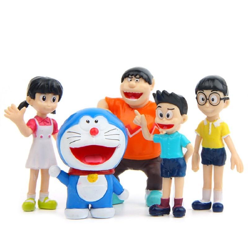 5pcs/lot Creative Micro Garden Landscape Decoration Props Doraemon Family Portrait PVC Action Figures Toy Kid Christmas Gifts