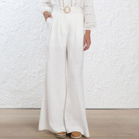 Шелковое белье wid ног офисные женские белые длинные штаны Высокая талия излучают slouch pant с боковыми набедренные карманы и пояс