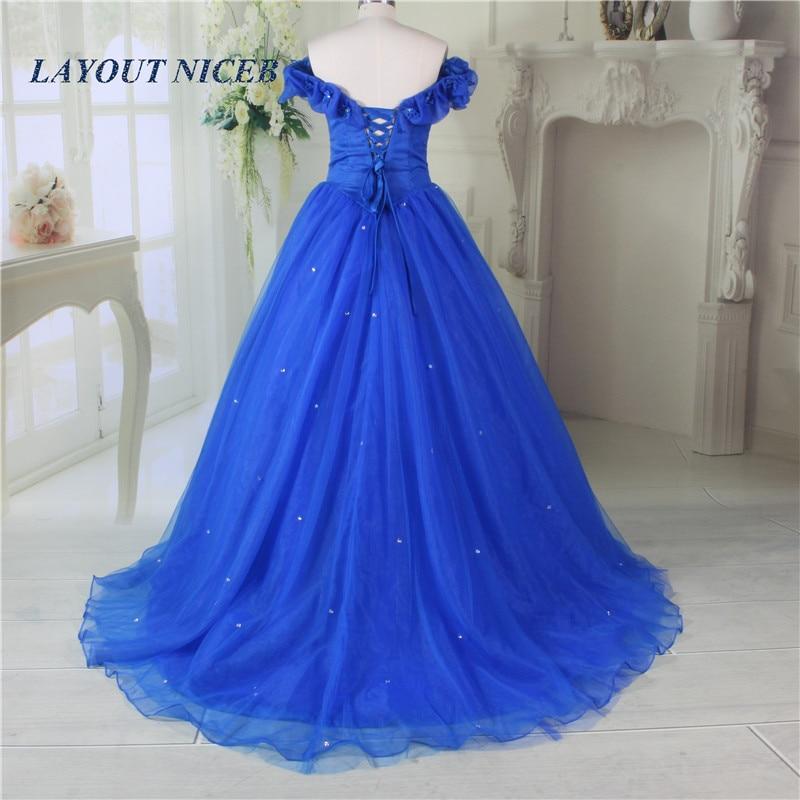 2017 Vestido Longo Royal Blue Princess Suknia Balu Piętro Długość - Suknie specjalne okazje - Zdjęcie 2