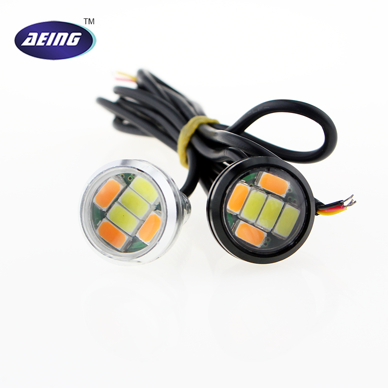 1*Car LED Light 12V 23MM 6 LED Dual Color White/Amber Eagle eyes Daytime Running Light DRL With Yellow Turn Signal Lamp Bulbs