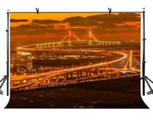 7x5ft City Night Backdrop South Korea Incheon Bridge Photography Background and Studio Props