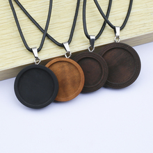 5pcs Blank Wood Pendant Base Tray Necklace 25mm 30mm dia Round Cabochon Settings With Black Leather Cord Diy Jewelry