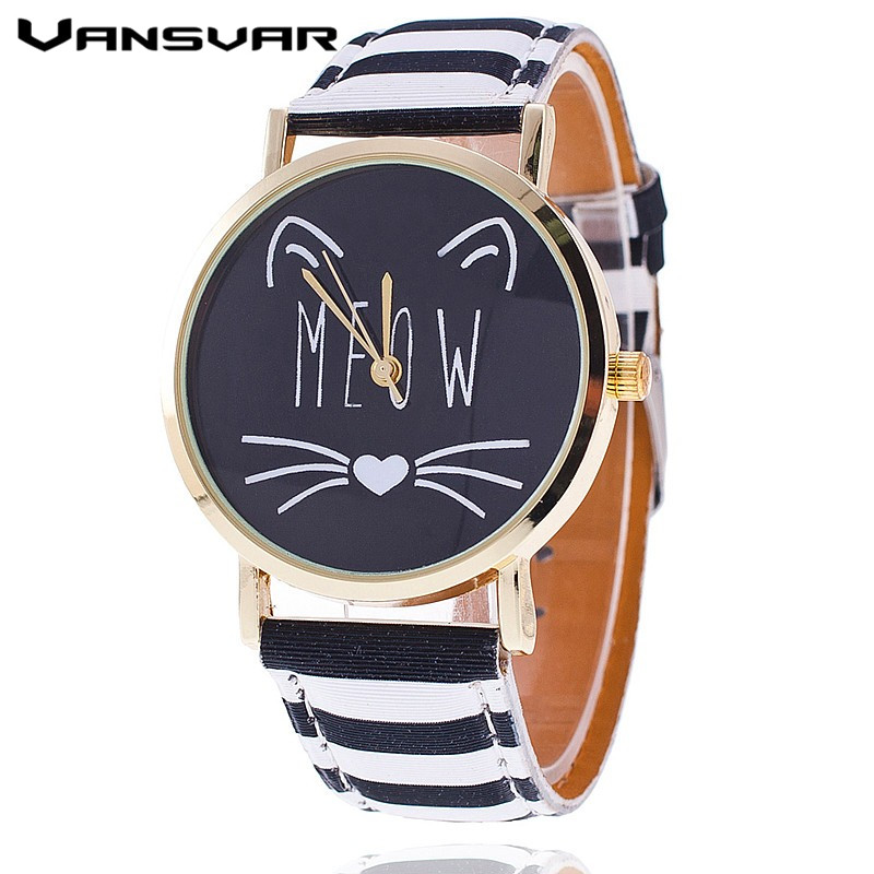 New Fashion Lovely Meow Cat Watch Casual Women Wristwatch Luxury Quartz Watch Relogio Feminino Gift Clock 1919 new fashion unisex women wristwatch quartz watch sports casual silicone reloj gifts relogio feminino clock digital watch orange