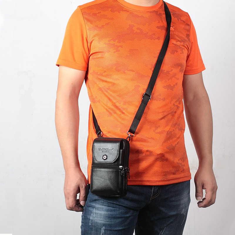 GOUD KORAAL Mannen Lederen Taille Zakken Kleine Reizen Fanny Pack Belt Bag Phone Pouch Wallet Hip Bum Schouder Crossbody tassen
