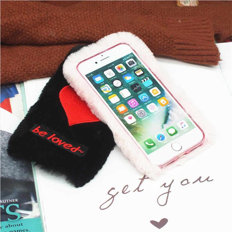 Для Xiaomi Redmi Note 4x 5A Prime 5 Plus S2 Y2 6A 6 Pro 7 милый женский теплый пушистый мех кролика сердце Мягкий чехол для телефона любовь задняя крышка