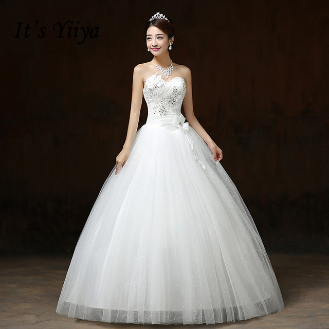 It S Yiiya New Flowers Bling Strapless Wedding Dresses White Princess Bride Frocks Real Photo Vestidos