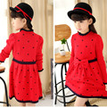 2016 spring and autumn children's 5-10 years old children's knitting fine wool love Princess Dress Girls Dress