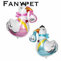 50 pçs/lote 78*91 cm bebê menina e menino guindaste em forma de mylar balões festa de aniversário decoração de hélio globos de frango suprimentos de balão