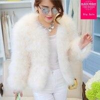Winter fashion new Women's jacket natural ostrich feathers turkey fur coat real fur jacket female long sleeve slim outwear L1532