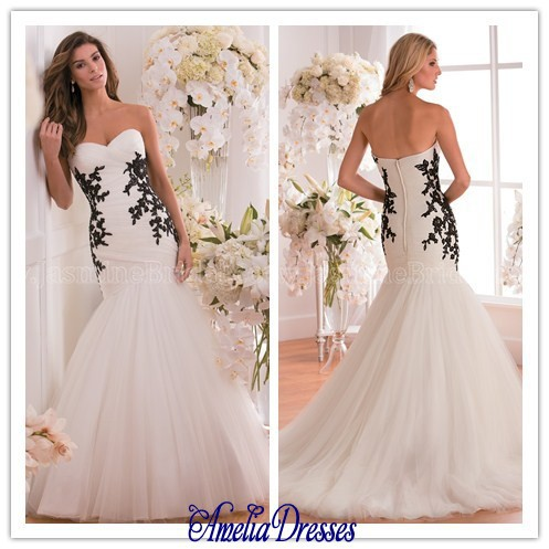 AW 413 Stunning Embroidery Wedding Gown Black And White Mermaid Dresses Plus Size