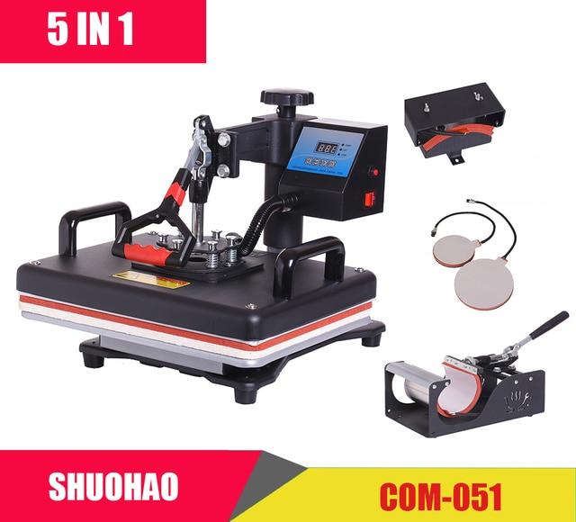 Barato 30*38 CM 5 en 1 Combo impresora de prensa de calor máquina de sublimación máquina de prensa de calor para placas de camisetas /tapa/taza/Fundas de teléfono et