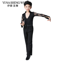 Boys Lace Professional Ballroom Latin Dance Competition Costume Set Shirt And Trousers Boy Professional Latin Salsa Dance Wear