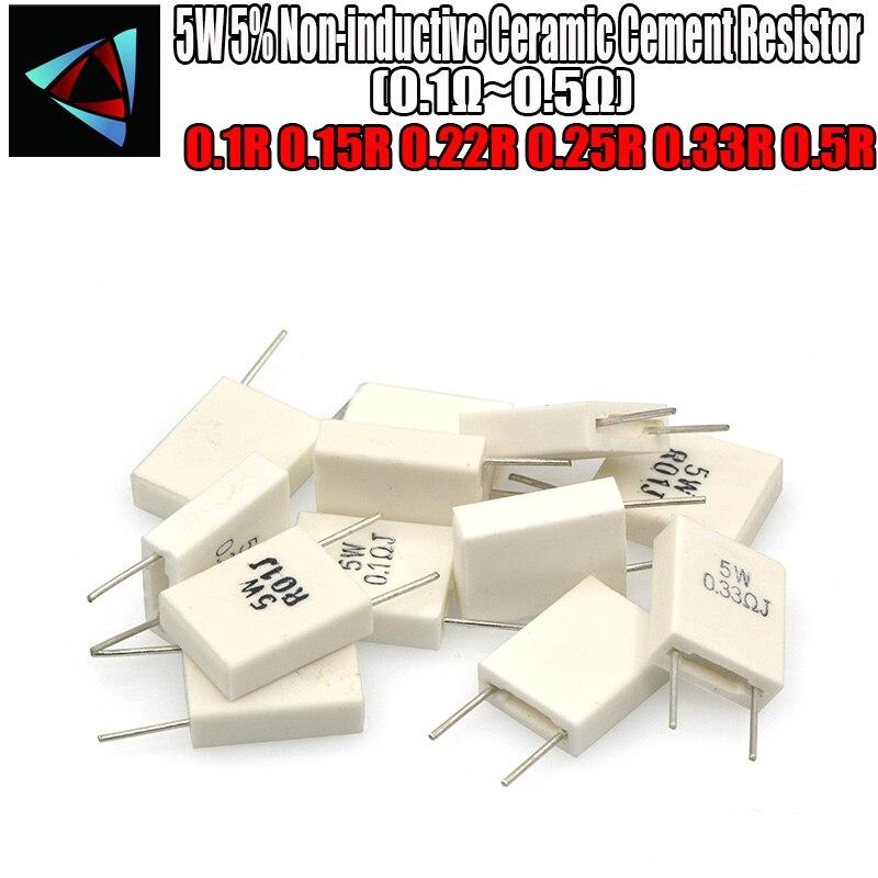 4pcs BPR56 5W 0.1 0.15 0.22 0.25 0.33 0.5 Ohm Non-inductive Ceramic Cement Resistor 0.1R 0.15R 0.22R 0.25R 0.33R 0.5R