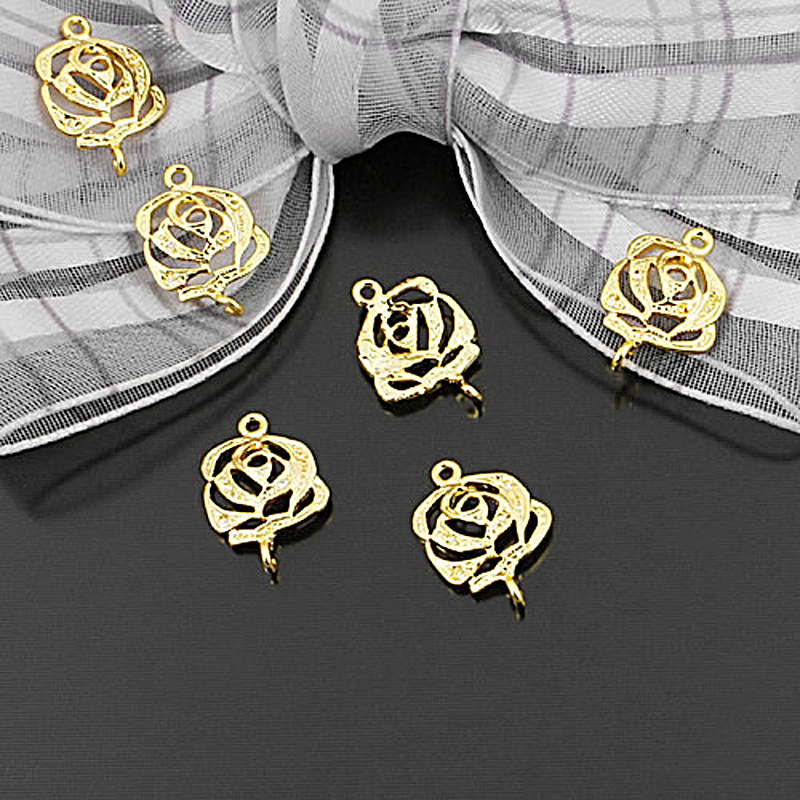 (25576-2)20PCS 15x10MM 24K Gold Color Brass 2 Holes Rose Connect Charms Diy Jewelry Findings Accessories Wholesale