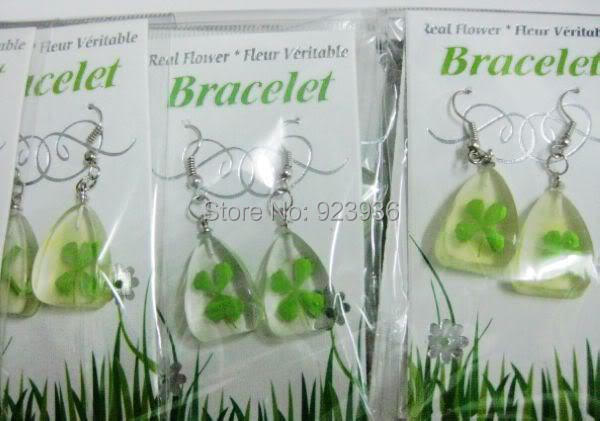 chaoying gao's store FREE SHIPPING 15 PCS Lucky shamrock four Clear Clover Nice Fashion four leaf lovely Earring