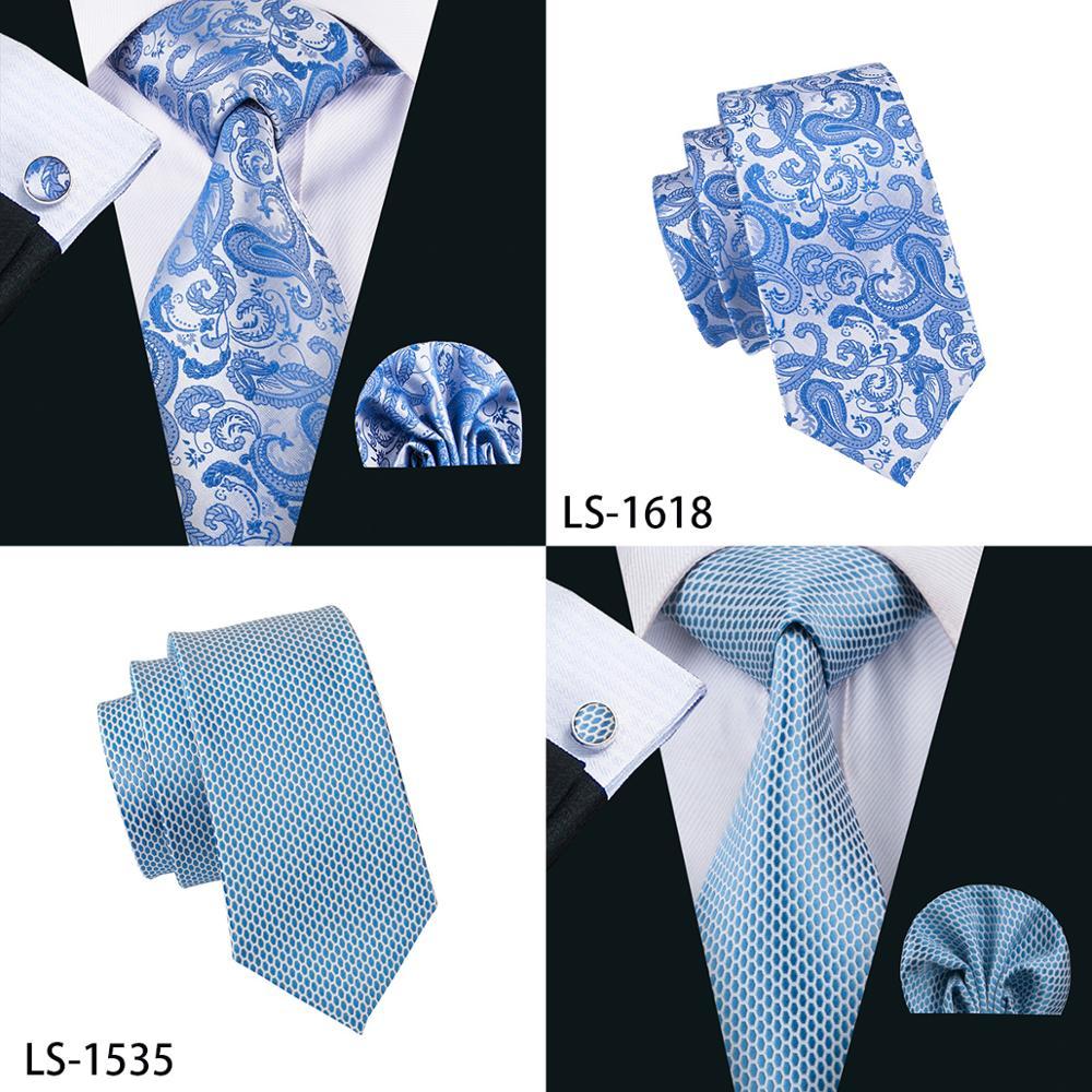 Blue Novelty 100% Silk Fashion Necktie Hanky Cufflinks Set