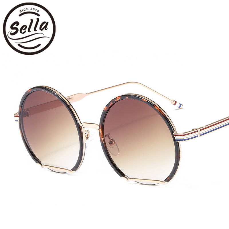 Sella New Arrival Fashion Women Men Brand Designer Round Sunglasses Metal Frame Gradient Lens Stripe Legs Vintage Glasses Shade
