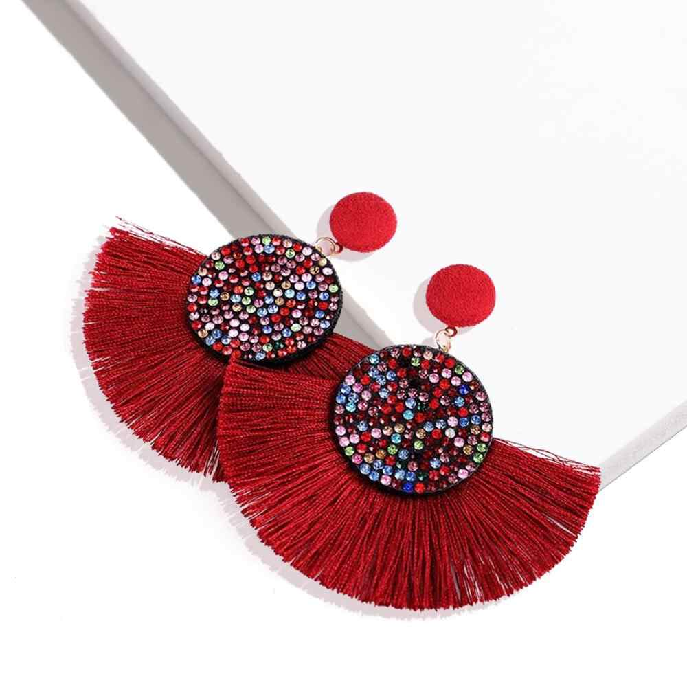 2019 New Fashion Sector Rhinestone Fringe Tassel Earrings For Women Bohemia Lafite Raffia Drop Dangle Earrings Statement Jewelry