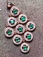Натуральный зеленый изумруд кулон 925 серебро натуральный драгоценный камень кулон ожерелье Мода кисточкой круг длина женские вечерние юве