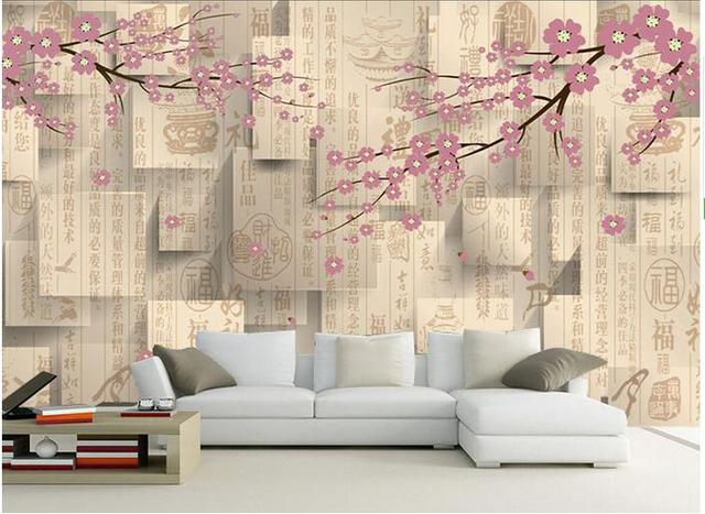 3d Room Wallpaper Custom Mural Non Woven Wall Sticker Chinese Style Texture Plum Painting Photo