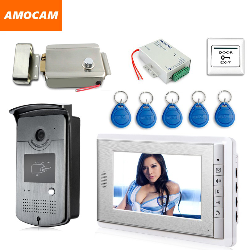 7 Screen Video Doorbell Intercom Door Phone System + ID Keyfobs + Electric Lock+Alunimum Camera + Power Supply+ Door Exit