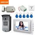 """7 """"tela de Vídeo Porta Telefone Campainha Intercom Sistema + ID Keyfobs + Trava Elétrica + Alunimum Câmera + Alimentação + porta de Saída"""
