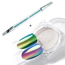 Polvo de espejo Holo de unicornio neón, pigmento Aurora para decoración de uñas artísticas, purpurina, polvo cromado de sirena, arcoíris, 0,2g