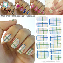 Elegant Blue Green Yellow Tartan Water Transfer Design Nails Stickers Manicure Styling Tools Water Film Paper Decals