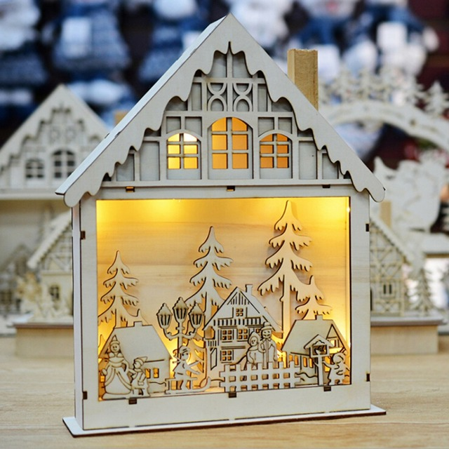 led xmas chalet european american style snow light wooden house decorative xmas tree hanging pendant cabins - Wooden Led Christmas Decoration