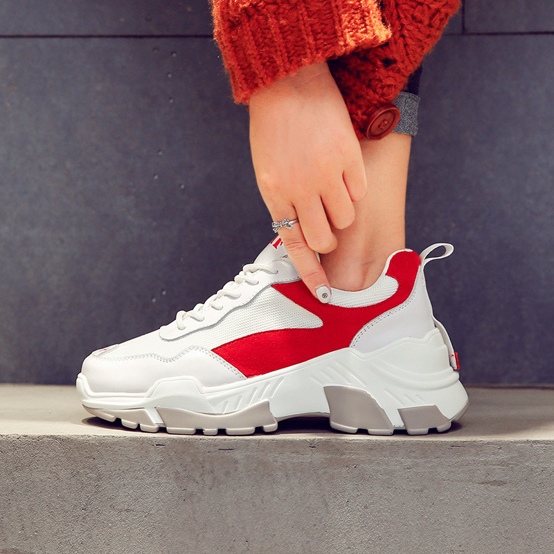 Épaisses Femmes rouge Rue Chaussures De Sneakers Hiver Loisirs Sport Sport Blanc 2018 Marée Noir Chaussures Cassé Danse Semelles wqFxTTStY