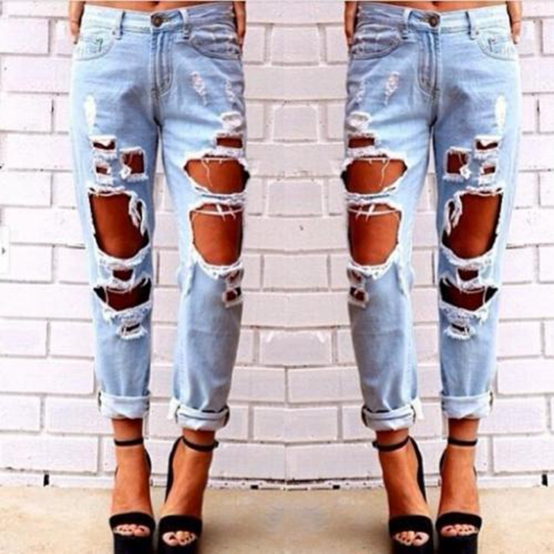 Hot Fashion Jeans Woman Girls Ripped Damaged Hole Light Blue Solid Novelty Skinny Full Length Pencil Pants Trousers