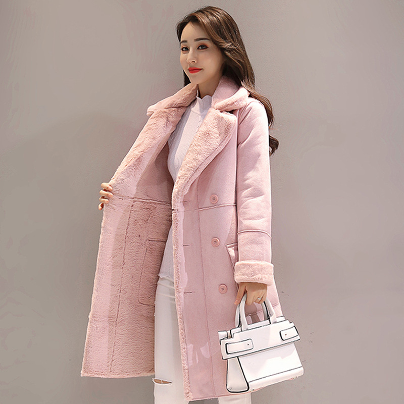 2017 winter new fashion lamb Faux Suede Leather jacket female velvet thick coat long section cotton clothes coat A813 qazxsw 2017 new winter cotton coat women long parkas thick velvet double breasted lamb winter jacket women suede jackets hb321