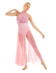 Image 3 - Delle donne Lyrical Danza Costumi Per Adulti Senza Maniche Halter Con Paillettes Maxi Vestito Da Prestazione Della Fase di Ballo di Balletto con Built In Body