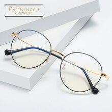 Anti Blue Light Glasses Designer Frames For Prescription Round Metal Computer Eye Men
