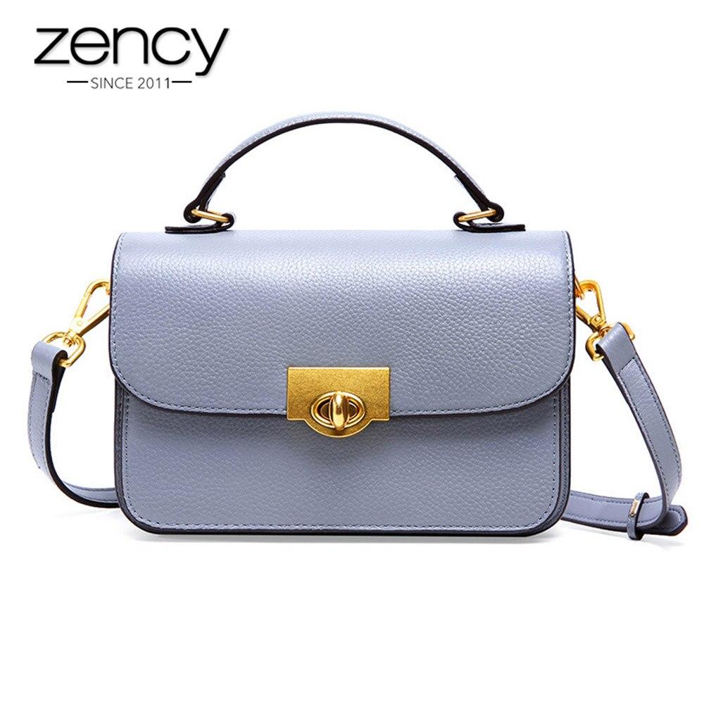 Zency 100 Cowhide Leather Handbag Fashion Women Shoulder Bag Elegant Small Flap Black Brown Lady Crossbody