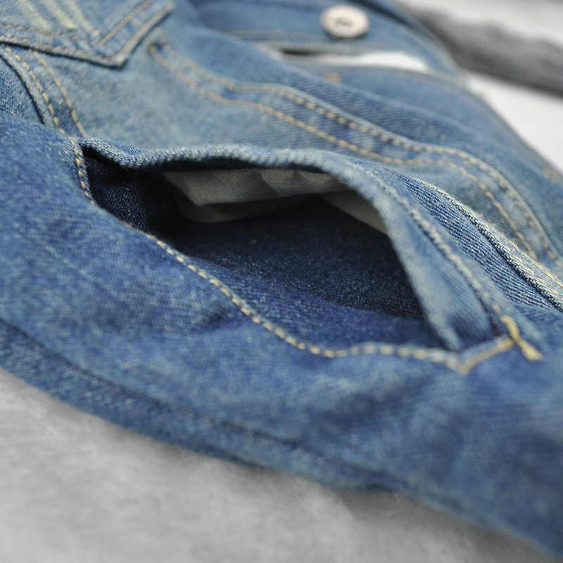 Zima na sprzedaż Oversize damska krótka kurtka dżinsowa damska 2019 szczupła przędza duża futrzana obroża jagnięca bawełniana, w stylu basic płaszcze jeansowa kurtka 7XL