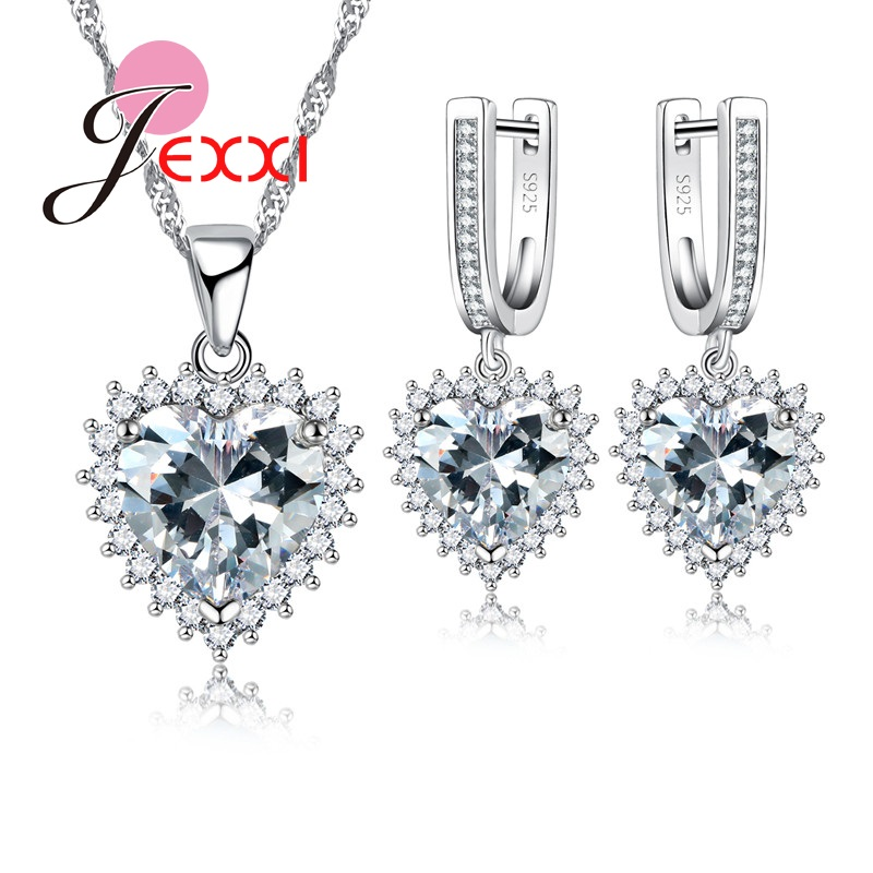 JEXXI Best Gift For Engagement Wedding Party Heart Shape Jewelry Set Silver Color And Crystal Maxi Necklace Earrings Set