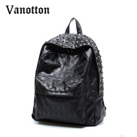 Single Weihuo 2015 New Fashion Personality Punk Rock Leather Backpack Backpack Bag Rivets