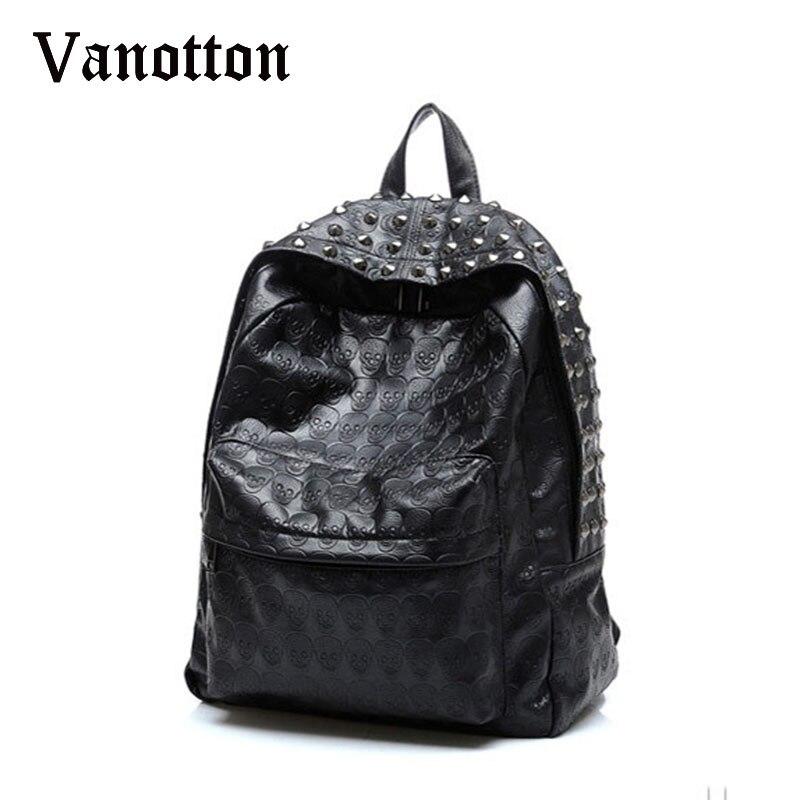 2017 Brand Women Pu Leahter Backpacks School Bags for Teenagers Girls Skull Pattern Shoulder Bag Girl Fashion Rivet Bookbag