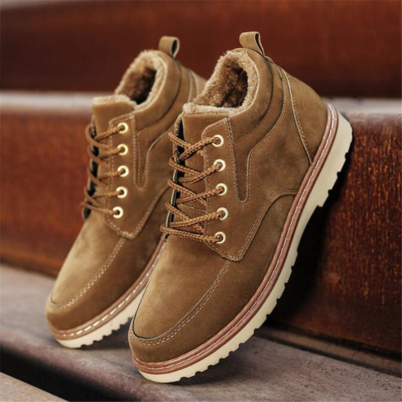 Men's Plus Velvet Plus Cotton Boots Autumn And Winter New Casual Men's Shoes To Keep Warm Trend Cotton Shoes England High To Hel