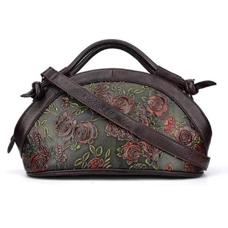 New Vintage prawdziwej wytłaczana torebka skórzana Rose wzór torba na drobiazgi kobiet wosk z oliwek skóra bydlęca na ramię Crossbody Messenger torby w Torebki na ramię od Bagaże i torby na  Grupa 3
