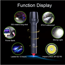 USB power Bank Import CREE XP-G2 R5 Flash Led built-in battery 10400 mAh flashlight outdoor IPX-8 waterproof Car safety hammer